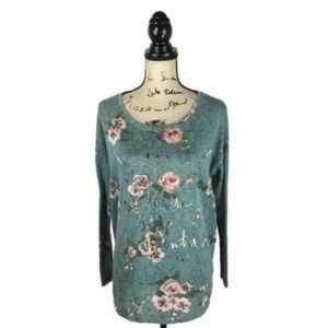 Disney Lauren Conrad Large L Shirt Blue Floral